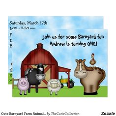 Cute Barnyard Farm Animals 1st Birthday Invitation ~Cute Barnyard Farm Animal First Birthday Party Invitations for Boys and Girls. It can be personalized with your birthday girl or boy's name: Join us for some Barnyard fun, <Insert Name> is turning ONE! and all your party details.