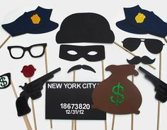 Cops & Robbers Photo Booth Prop Collection. Best Police Officer Props. Wedding Party Props