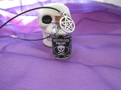 Poison Skull Glass Vile Necklace by AmethystWaysFairies on Etsy