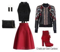 Bomber Jacket - look trabalho by danicardoso-moda on Polyvore featuring polyvore, fashion, style, Topshop, French Connection, Chicwish, ALDO, Chanel, Bebe and clothing