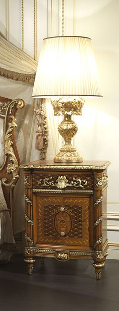 Classic luxury Lamp and Bedside Table Louis XVI