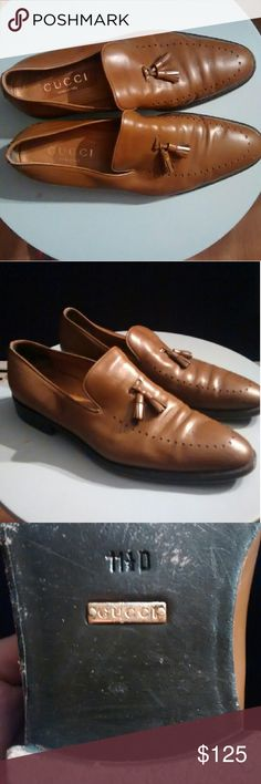 Gucci leather loafers. Gucci tasseled leather loafers. Good condition. A nice dress shoe for any man. A quick shine to care for a few scuffs and they will look great!!! Gucci Shoes Loafers & Slip-Ons