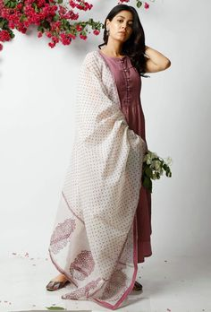 This off white kota dupatta with hand blocked violet polka dots and prints is the epitome of grace and simplicity. It adds character to your attire, giving it a breezy summer look. This product includes the dupatta only. Churidar Designs, Indian Designer Suits, Girls Dresses, Summer Dresses, Anarkali Dress, Indian Wear, Indian Outfits, Designer Dresses, Block Dress