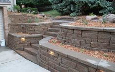 Garden landscaping decoration ideas with wonderful retaining wall design options brick stones installing lighting ideas with steps