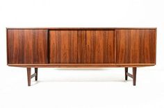 Danish Mid Century Modern Sailing Furniture Sliding Door Rosewood Credenza