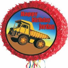 """Dump Truck Pinata Personalized by Personalized Pinatas. $18.99. -Your piñata is perfect for indoor use, and for use with small children since it is a pull-string piñata and doesn't have to be destroyed to be enjoyed, which also makes it the perfect party keepsake.. -Personalized Piñatas are 17"""" round drum, pull-string piñatas decorated with fringed trim. They ship flat, and then expand to 3"""" to hold up to two pounds of candy or trinkets to go with your party theme.. -..."""