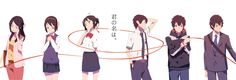 Taki Talk and Mitsuha over time. -- Japanese films, characters, official art, time line, cute romantic relationship