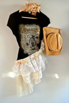 Paris T-shirt, ruffle shabby shirt, gypsy cowgirl, romantic french country chic tunic top, boho, woman's shirt, true rebel clothing. $64.00, via Etsy.