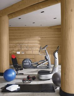 The rustic-chic vibe of an Aspen, Colorado, ski house extends to its exercise room.10 Home Gyms That Will Inspire You to Sweat Photos   Architectural Digest