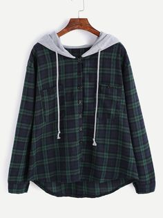Shop Plaid Button Pocket Sweatshirt With Contrast Hood online. SheIn offers Plaid Button Pocket Sweatshirt With Contrast Hood & more to fit your fashionable needs. Flannel Sweatshirt, Hooded Flannel, Hoodie Sweatshirts, Sweat Shirt, Mode Chanel, Vetement Fashion, Casual Outfits, Fashion Outfits, Fashion Clothes