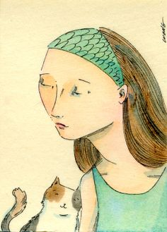Original ACEO Painting  Friending you by PainterNik on Etsy, $35.00