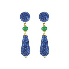 "Seaman Schepps Lapis & Chrysoprase ""Canton"" Drop Earrings"