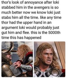 """Thor: Brother i am not a marshmallow why must you do this. Brother stop this. Brother why. Crew: Thor, are you okay? He just stabbed you! Thor: It's ok just a light stabbing, usually it's much worse. *The Avengers just share a look, like """"What the—""""* Funny Marvel Memes, Marvel Jokes, Dc Memes, Avengers Memes, Marvel Dc Comics, Marvel Heroes, Marvel Avengers, Funny Memes, Funniest Memes"""