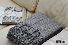 Grey cotton woven throw / blanket