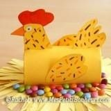 Spring crafts: Chicken sitting on a pile of chocolate eggs. Toilet Roll Craft, Toilet Paper Roll Art, Rolled Paper Art, Paper Towel Crafts, Toilet Paper Roll Crafts, Easter Art, Easter Crafts, Diy For Kids, Crafts For Kids