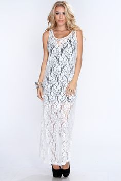 This+elegant+dress+is+one+to+catch+attention+anywhere+you+go!+Its+perfect+for+a+night+out+with+your+gals+or+on+a+nice+date.+Perfect+for+any+kind+of+weather.+This+maxi+features+scoop+neck,+sleeveless+style,+mesh+with+knitted+floral+and+slightly+loose+fitted+for+a+more+comfortable+wear.+80%+Cotton+20%+Nylon+Please+note+dress+slip+isnt+included.+