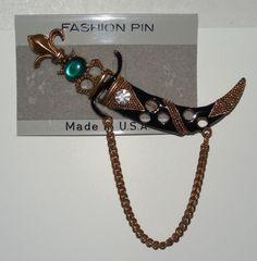 Faux Jewel Encrusted Fleur De Lis Gold Tone Metal Crown And Dagger Brooch/Pin #Unbranded