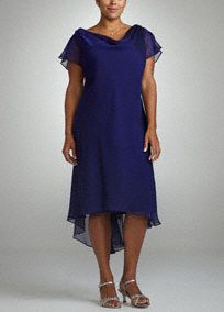Elegant and fun, you will sure to stand out in this whimiscal ensemble! Flutter sleeve and drape neckline is unique and classy. Back brooch detail adds a touch of sparkle to this already stunning dress. Fully lined. Imported polyester. Dry clean only.