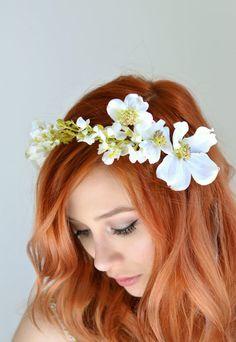 Wedding headband dogwood crown white flower by gardensofwhimsy