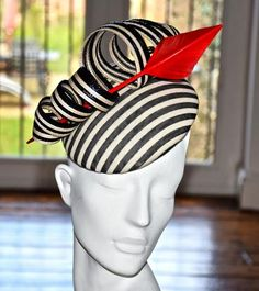 Black and White Stripe with Red Feather | UK Nationwide Hats for Sale, Hats for Hire
