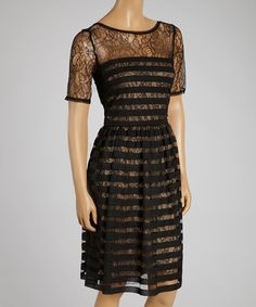 Take a look at the Muse Black Lace-Overlay Stripe A-Line Dress on #zulily today!