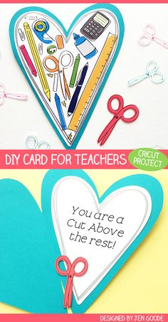 Make your favorite teacher a card with your Cricut - designed by Jen Goode