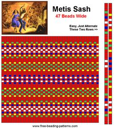 How to make a beaded Metis sash Loom Bracelet Patterns, Bead Loom Bracelets, Bead Loom Patterns, Weaving Patterns, Crochet Patterns, Inkle Weaving, Inkle Loom, Beadwork Designs, Pattern Images