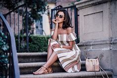Off the shoulder + stripes ❤️ | outfit details up on #VivaLuxury
