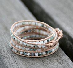 New Summer Trendy Bracelet Tree Agate Stone Leather Wrap Bracelet Fash – Bohemian Gift Stores