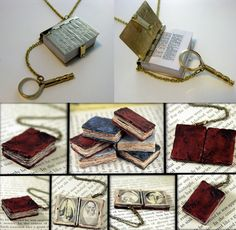Pin if you like it! :) [Could I make books from clay? Book Jewelry, I Love Jewelry, Sea Glass Jewelry, Diy Jewelry, Jewlery, I Love Books, Altered Books, Book Crafts, Mini Books