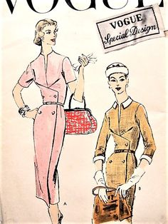 1950s CLASSY Slim Dress Pattern VOGUE Special Design 4693 Day or After 5 Wrapped Front, Detachable Collar and Cuffs Bust 32 Vintage Sewing Pattern FACTORY FOLDED