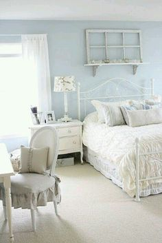 Beautiful blue shabby chic bedroom