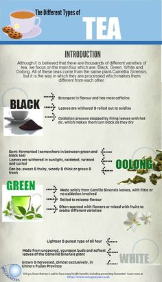 Types of Tea #Infographic #Infografía  #Coffee  Re-pinned by www.avacationrental4me.com