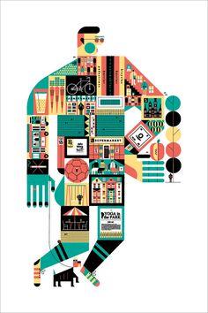 """Better Cities Through Healthy Design 11.25x17"""" Art Print by Raymond Biesinger"""