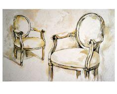 Obraz na płótnie - akryl -  dwa krzesła
