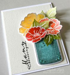Paper Trey Vintage Linens Stamp Set - Marybeth's time for paper: Blooms and a Bug! Mason Jar Cards, Mason Jars, Card Making Inspiration, Making Ideas, Love Cards, Cards Diy, Pretty Cards, Beautiful Handmade Cards, Pots