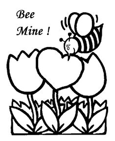 Valentines Bee Mine Coloring Page And Card