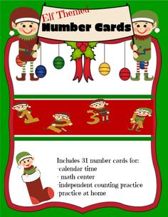 Get in the spirit of the holidays when counting numbers! This Elf Number Cards template has these silly little elves holding numbers, and a few extra elf cards that joined in. Use these number cards for morning calendar, at a math center or independent work for number counting practice, or duplicate each page and have the students practice number identification in a memory match game.