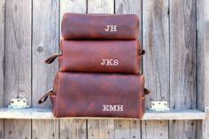 Custom Leather Dopp Kit by LifetimeLeatherCo, $42.00--for the fam