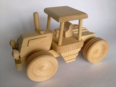 Organic Handcrafted Wooden Tractor with wagon by PolishFolkArtShop, £11.00