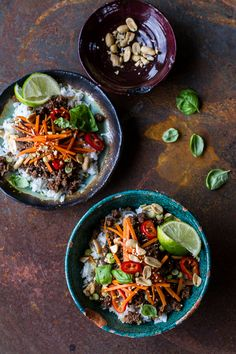 20 Minute Thai Basil Beef and Lemongrass Rice Bowls by halfbakedharvest Riz de choux fleur Asian Recipes, Healthy Recipes, Ethnic Recipes, Herb Recipes, Rice Recipes, Delicious Recipes, Thai Basil Beef, Basil Chicken, Thai Sweet Chili Sauce