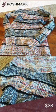 Forever 21 - multi color cowl neck tunic sweater Like new - never worn so nice and soft tunic length ,cowl neck sweater  chunky Forever 21 Sweaters Cowl & Turtlenecks