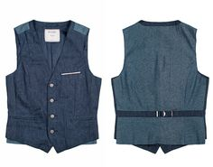 (9) Rifle Multi-Panel 12oz Japanese Raw Selvedge Denim Super Slim Waistcoat Vest with Contrasting 5oz Denim Back - Bucks & Co 2013 Spring Summer Mens Lookbook