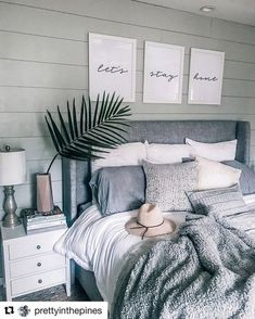 Cozy bedroom grey white cozy bedroom decor lets stay home shared any bedroom decor yet other than the tutorial but i dark cozy bedroom colors Gray Bedroom, Grey Bedding, Trendy Bedroom, Bedroom Colors, Home Decor Bedroom, Bedroom Wall, Bedroom Ideas, Modern Bedroom, Bedding Sets