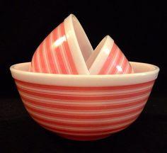 Rare Pyrex Pink Stripe Nesting Bowls MINTY by ShabbySheila on Etsy, $155.00