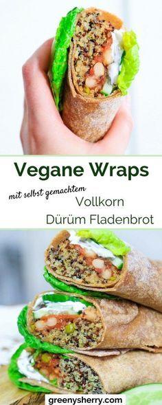 Meal Prep: Vegane Wraps mit selbst gemachtem Vollkorn Dürüm Fladenbrot - u.a. gefüllt mit Quinoa. Rezept von www.greenysherry.com - vegane Rezepte & grüner leben - #vegan #wrap #quinoa #dürüm #veggie #detox #mealprep #vollkorn #fladenbrot #easy #rezept #DIY