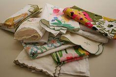 Mismatched vintage napkins would look lovely for brunch.