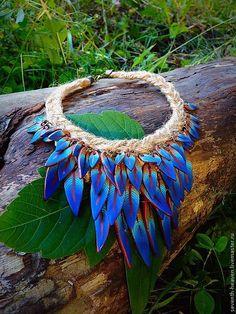 Купить Колье СИНЯЯ ПТИЦА - тёмно-синий, синий, голубой, перо, перья, синяя птица