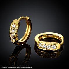 18k Gold and 4 Zircon Stones Small Hoop Earrings 1.4cm