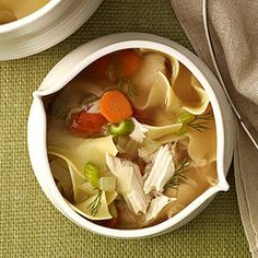 Chicken Noodle Soup from familycircle.com #myplate #soups #chicken #veggies #protein